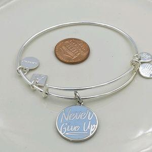 Alex and Ani Shiny Silver Never Give Up Bracelet